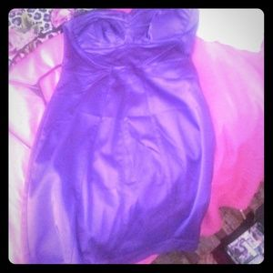 Purple satin tube dress